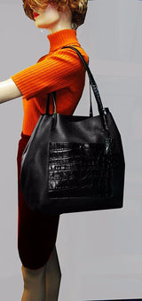 Colgate Large Black Leather Croc Grab Bag Tote