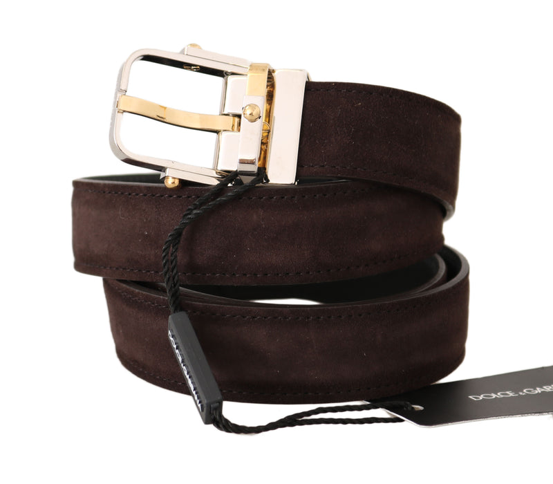 Brown Suede Leather Gold Silver Buckle Belt