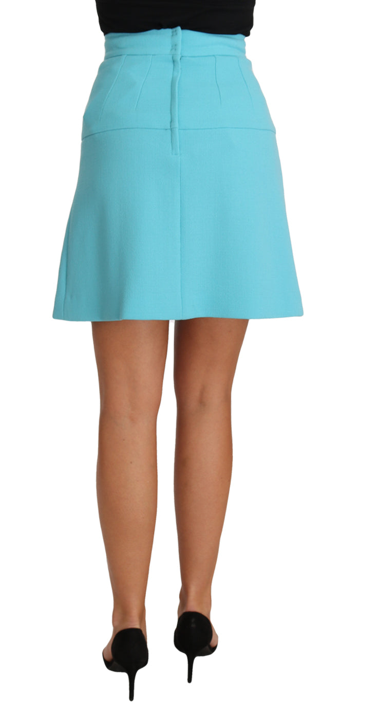 Light Blue Crystal Wool A-line Pleated Skirt