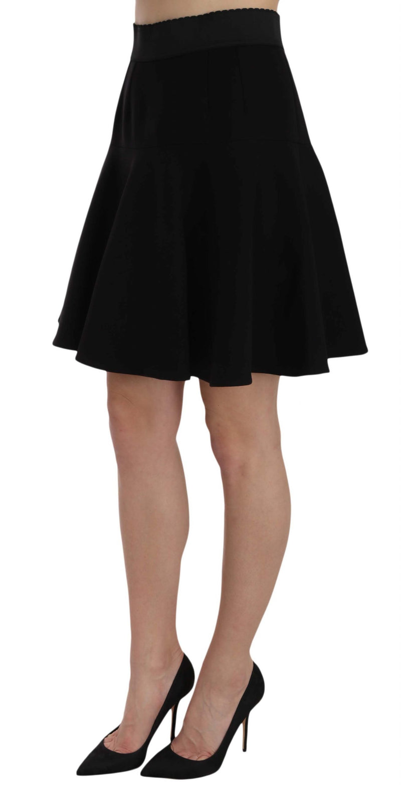 Black Solid A-line Fluted High Waist Mini Skirt