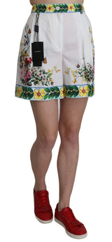 Majolica Rose White Floral Print Cotton Shorts