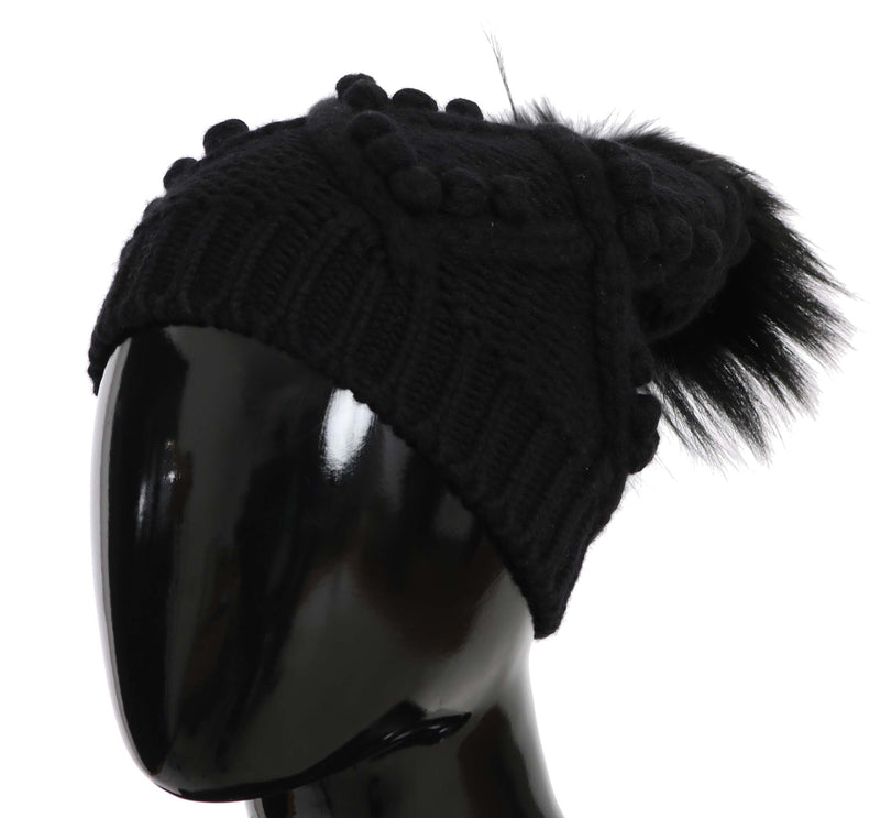 Knitted Cashmere Black Fox  Hat