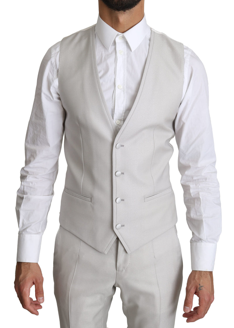 Silver Single Breasted 3 Piece Wool Suit