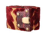 Red Gold Velvet Leather Gold Buckle Belt