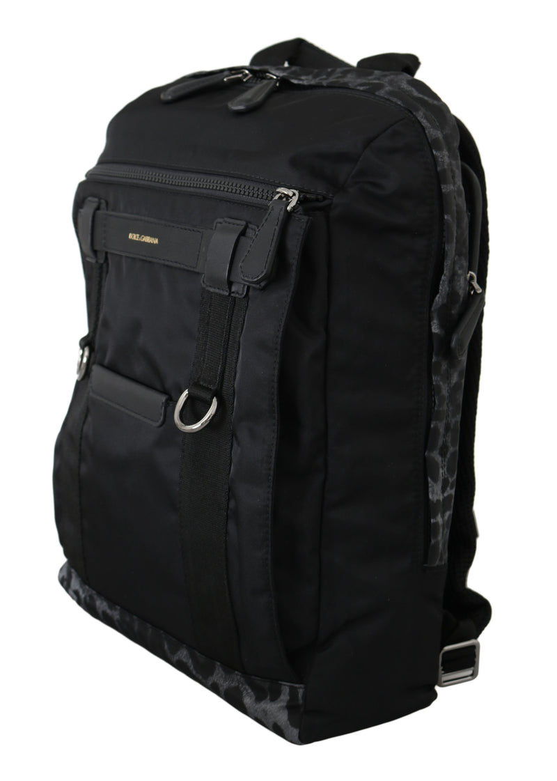 Black Leopard Bottom Casual School Nylon Backpack