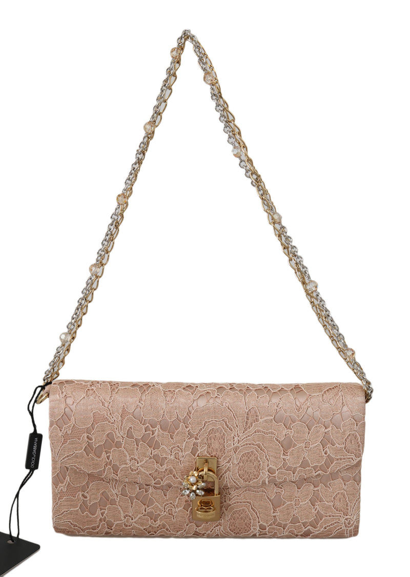 Pink Taormina Lace Chain Evening Party Cotton  Bag