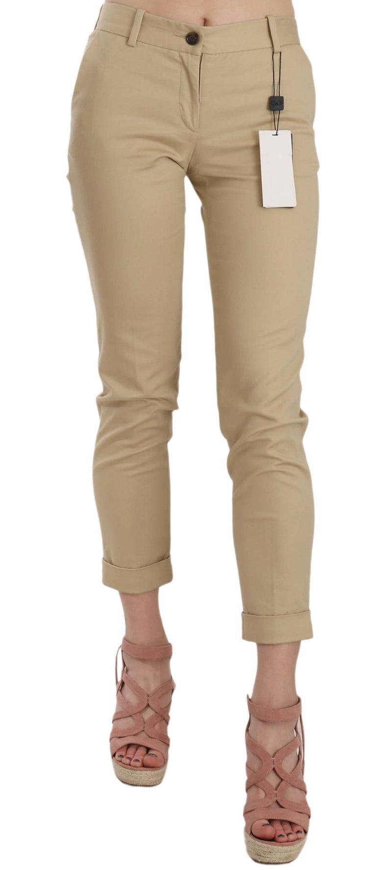 Khaki Casual Fitted Cotton Trousers Pants
