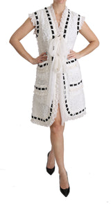 White Crochet Sleeveless Coat Jacket