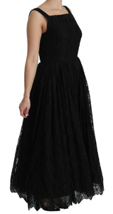 Black Lace A-Line Pleated Long Gown Dress
