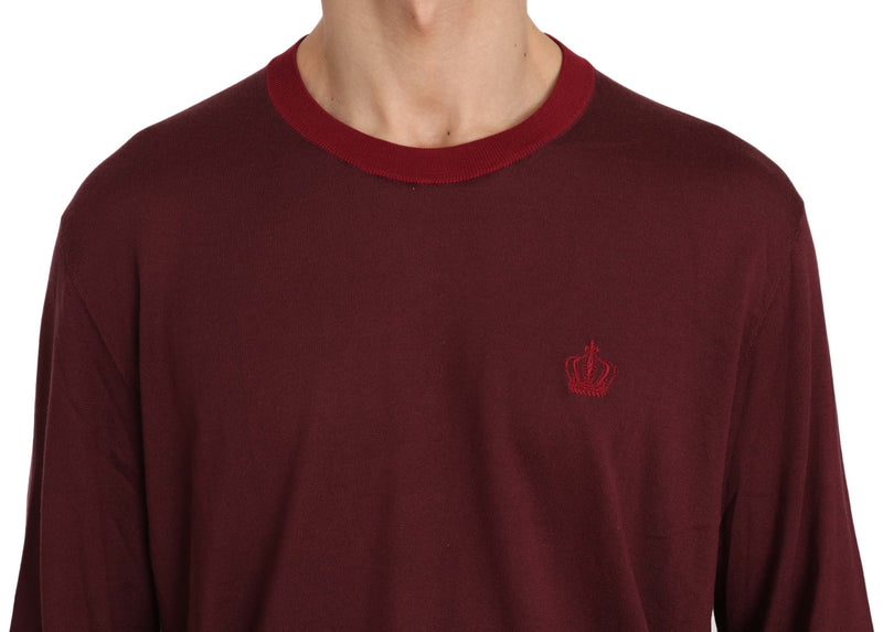 Maroon Crown Logo Silk Pullover Sweater