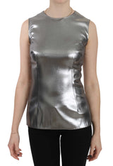 Silver Tulle Sleeveless Silk Top  Blouse
