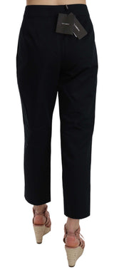 Black Cropped Front Button Embellished Pants