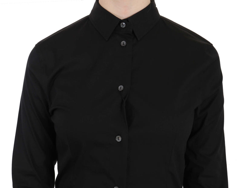 Black Cotton Long Sleeve Shirt Top
