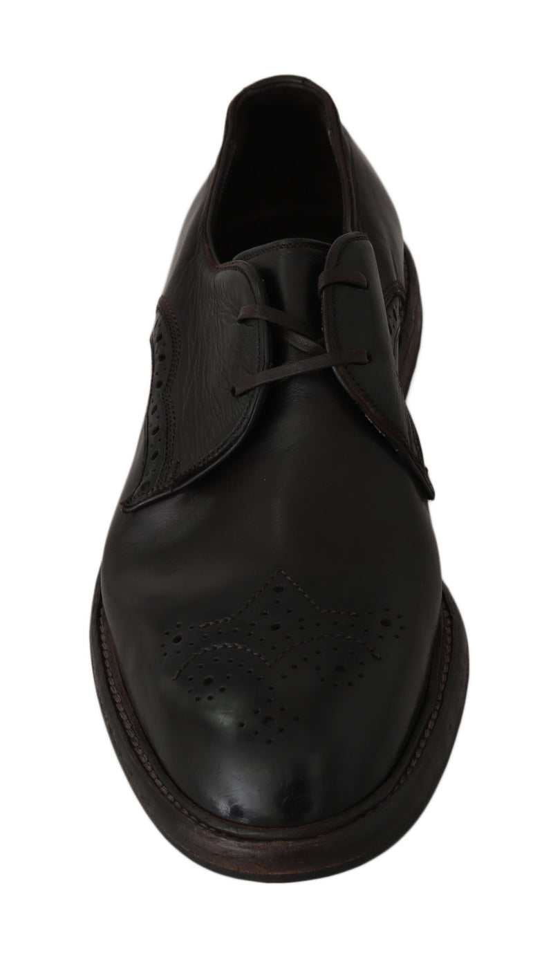 Brown Leather Marsala Derby Dress Shoes