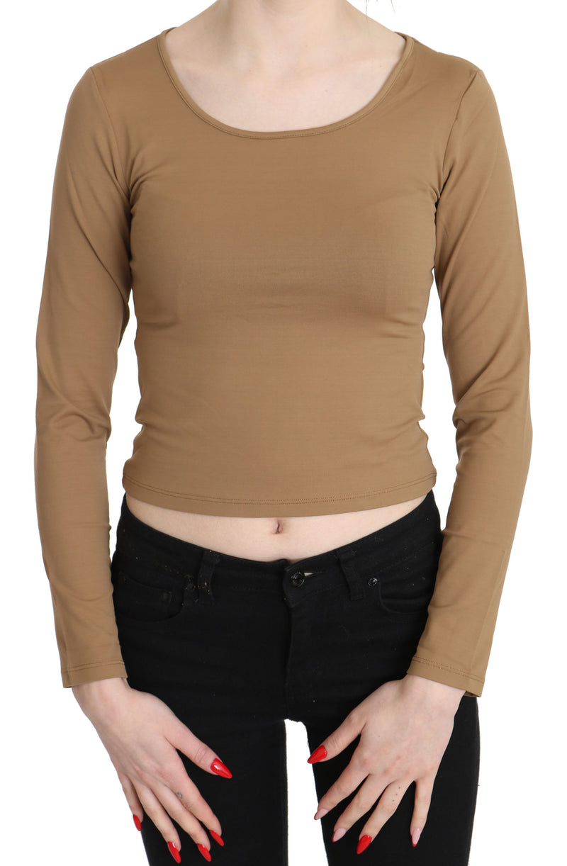 Brown Round Neck Long Sleeve Slim Crop Top Blouse