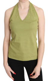 Green Halter Cotton Sleeveless Casual Tank Top Blouse