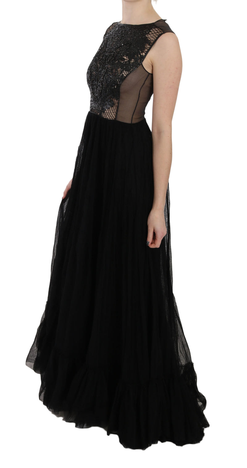 Black Leather A-line Maxi Gown Flare Dress