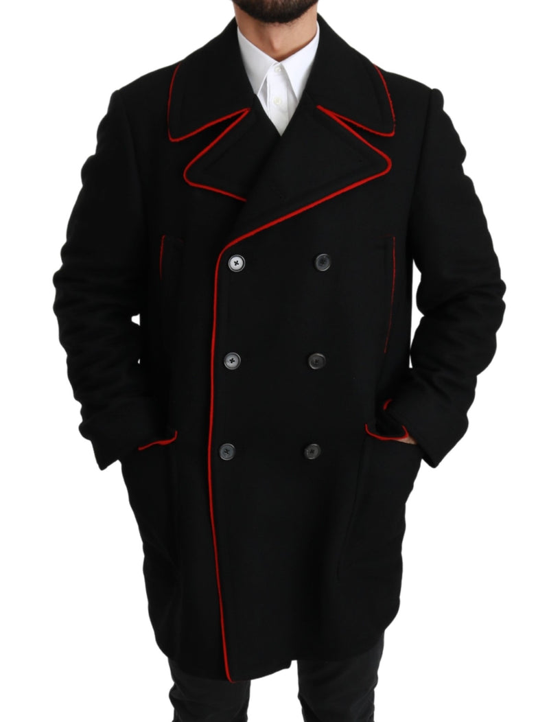 Black Red Wool Stretch Trenchcoat Jacket