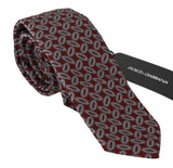 Red 100% Silk Printed Wide Necktie Men Tie