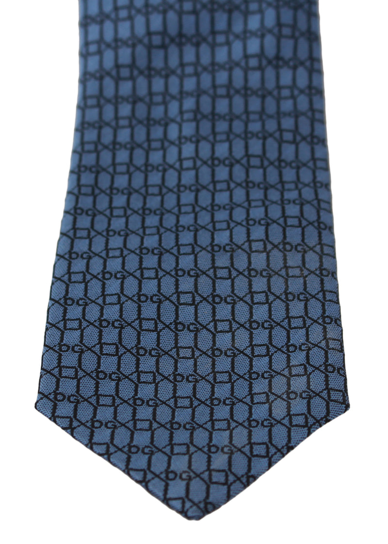 Blue DG Patterned Classic Slim Necktie Tie