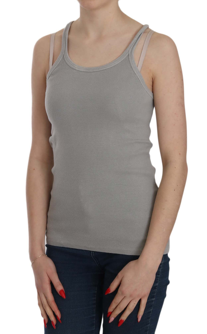 Grey Sleeveless Spaghetti Strap Shirt