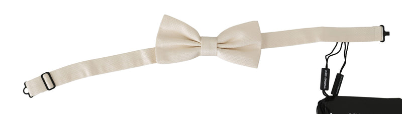 Dolce and Gabbana  Beige Cream 100% Silk Adjustable Neck Butterfly Bow Tie