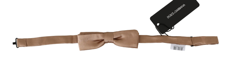 Men Beige 100% Silk Adjustable Neck Papillon Bow Tie