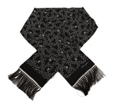 Black White Heart Silk Fringes Wrap 15cm x 140cm  Scarf