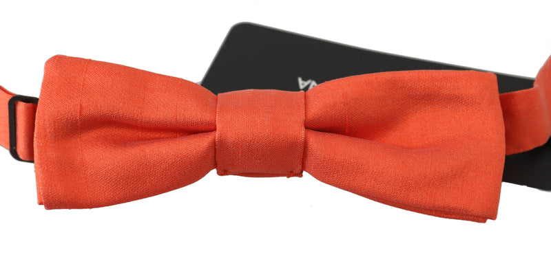 Men Orange 100% Silk Adjustable Neck Papillon Bow Tie