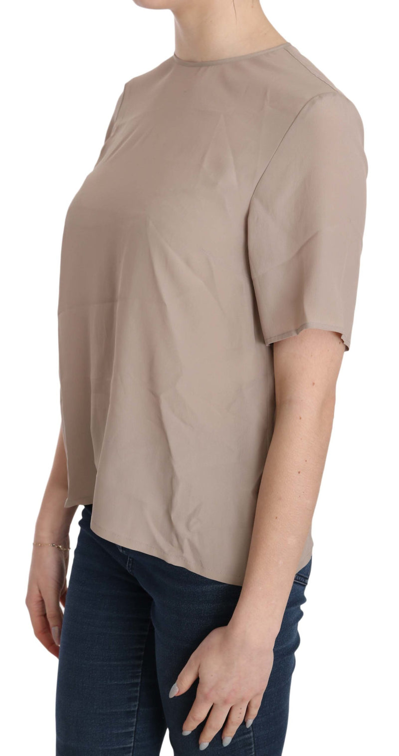 Dolce and Gabbana  Beige Crew Neck Short Sleeve Blouse