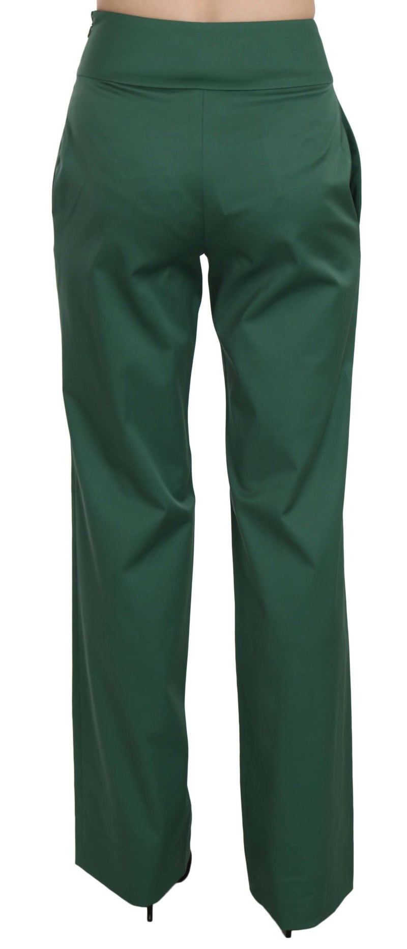 Green High Waist Straight Formal Trousers Pants