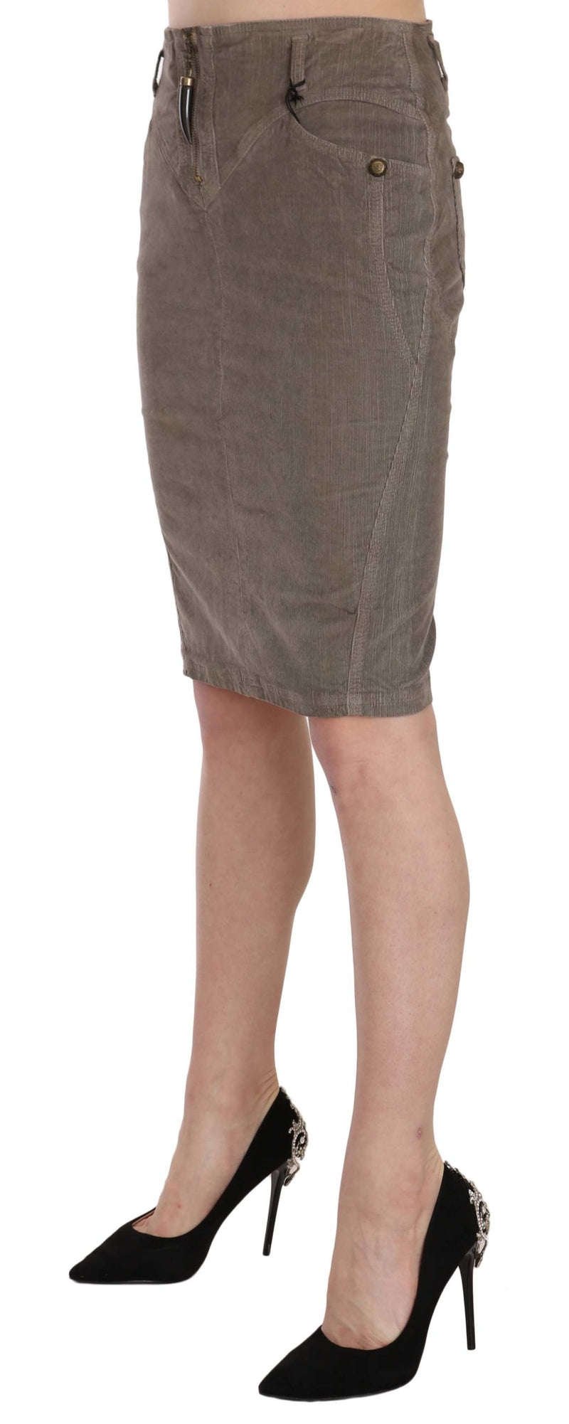 Gray Corduroy Pencil Straight A-Line Skirt