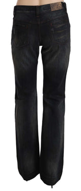 Black Washed Low Waist Boot Cut Denim Pants Jeans