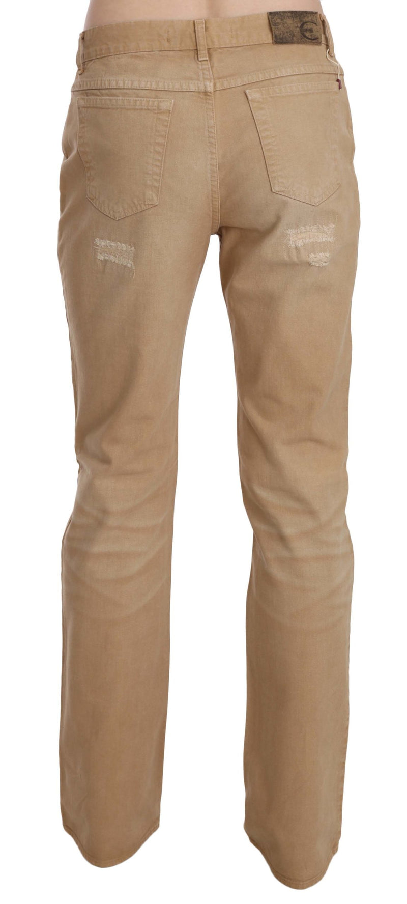 Beige Ripped Cotton Mid Waist Straight Denim Pants