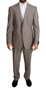 Beige Solid Two Piece 2 Button Wool Suit