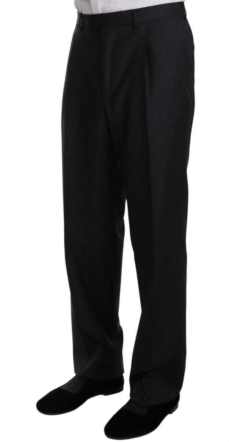 Black Two Piece 3 Button Wool Suit