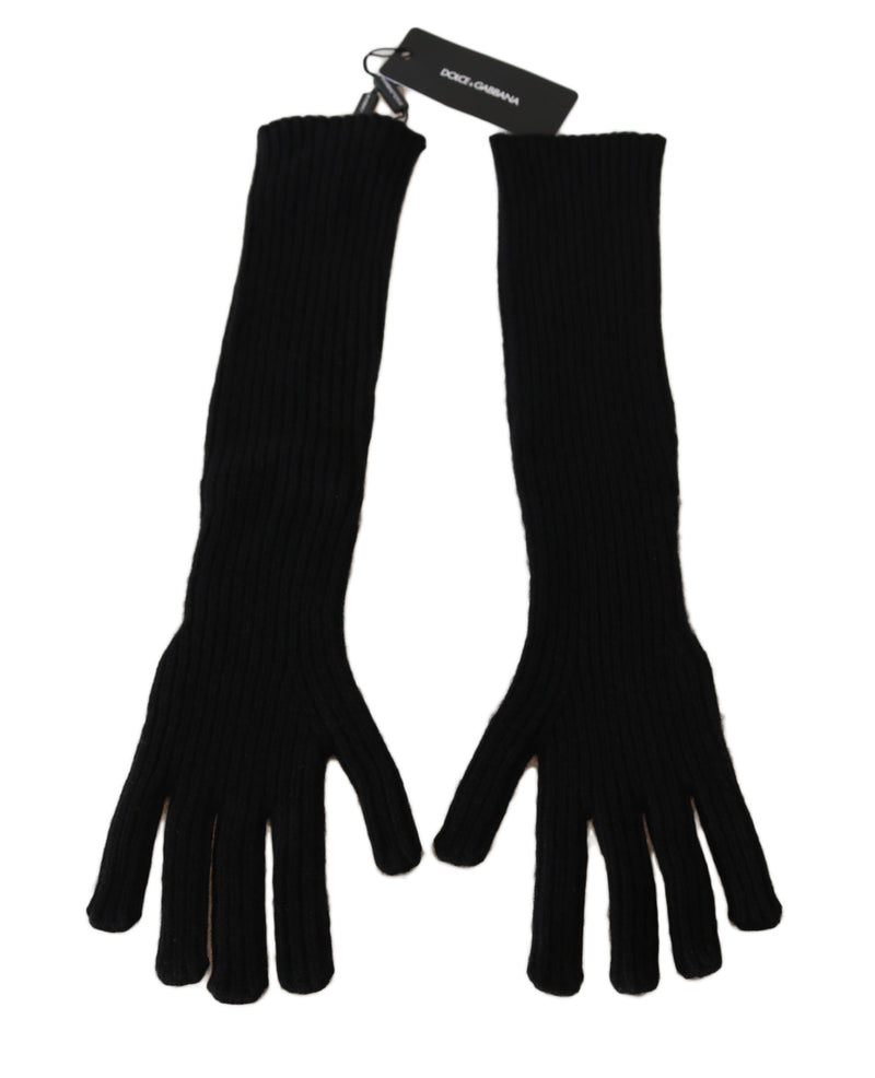 Dolce and Gabbana  Black 100% Cashmere Knitted Elbow Length Gloves