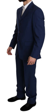 Blue Solid 100% Wool Two Piece 3 Button Suit