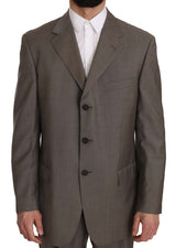 Gray Brown Pattern Two Piece 3 Button Wool Suit