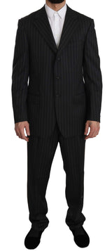 Black Striped Two Piece 3 Button Wool Suit