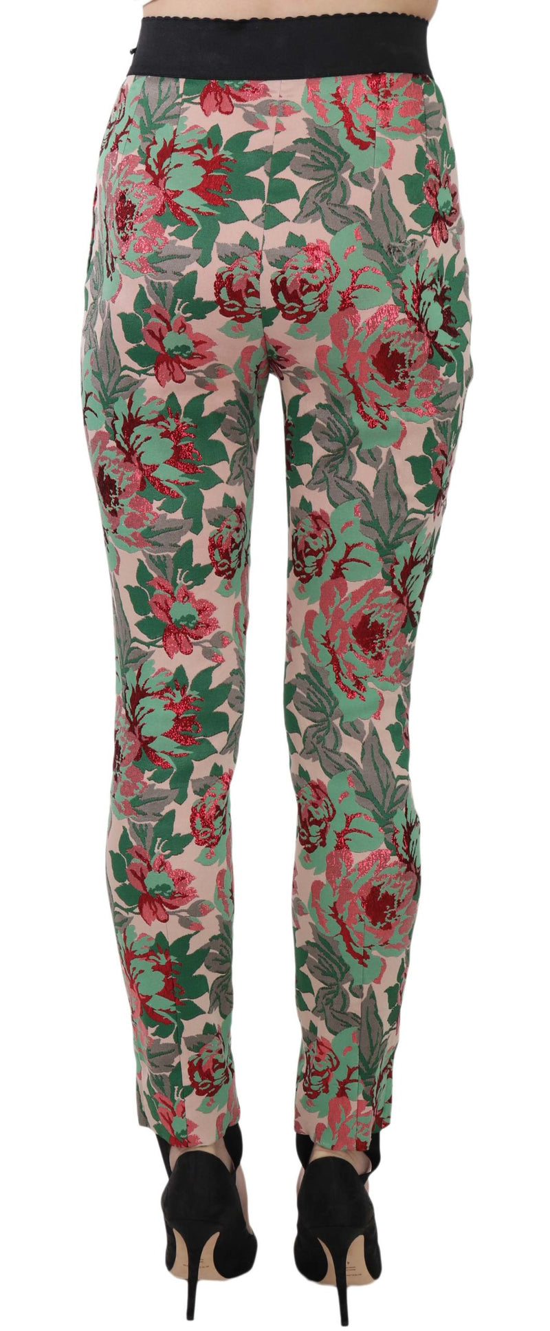 Stirrup Jacquard Floral Stretch Trousers Pants