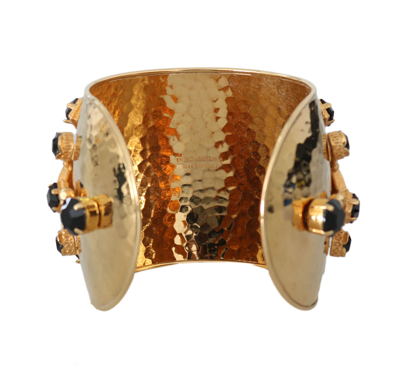 Gold Bronze Black Crystal Bangle Cuff Sicily