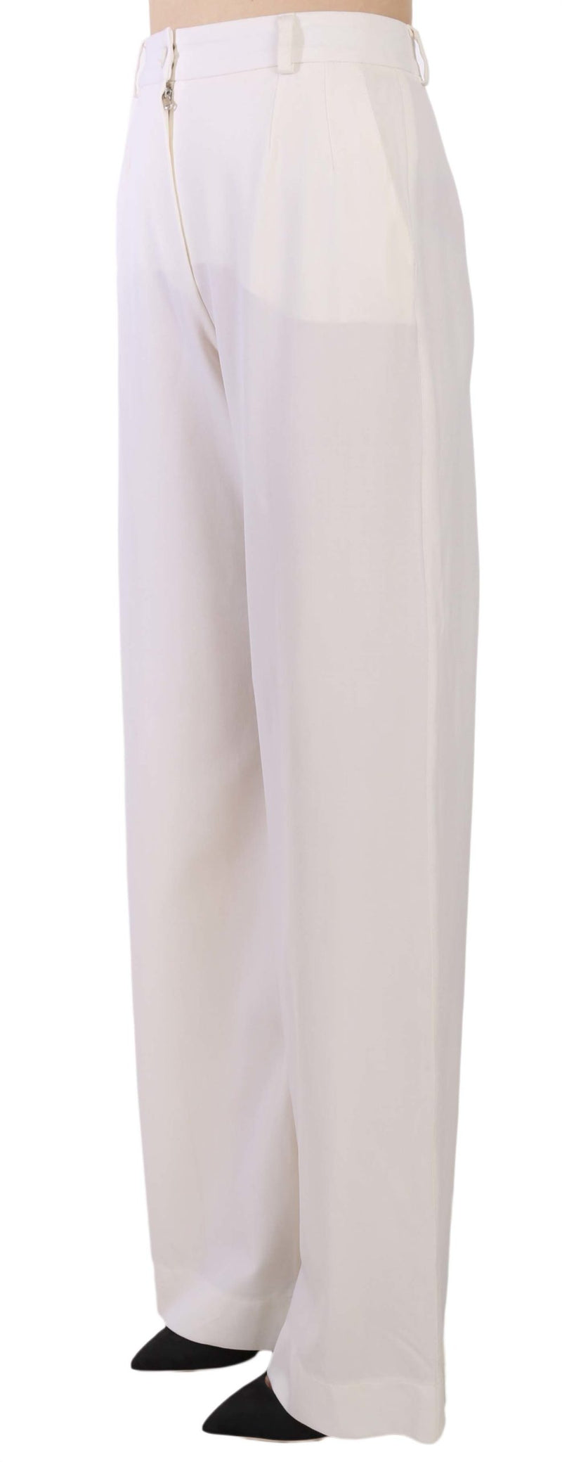 White Virgin Wool Wide Leg Trousers Pants