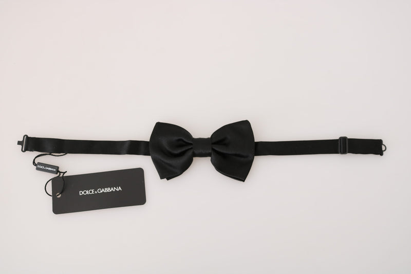 Black 100% Silk Adjustable Neck Bow Tie Papillon
