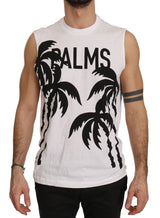 White Cotton Palm Tree Print Mens Tank Top T-shirt