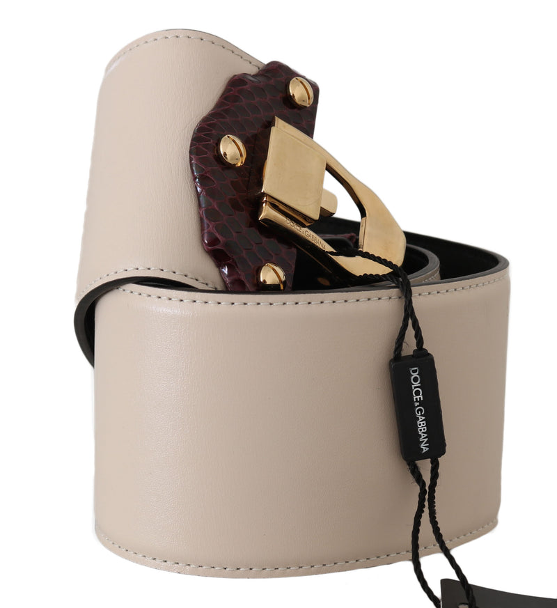 Beige Leather Gold Buckle Wide Waist  Belt