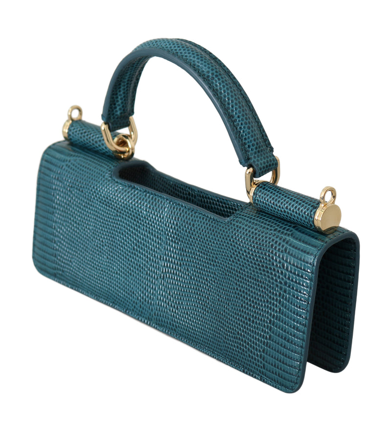 Blue Leather Push Button Accessory  Micro Handle Bag