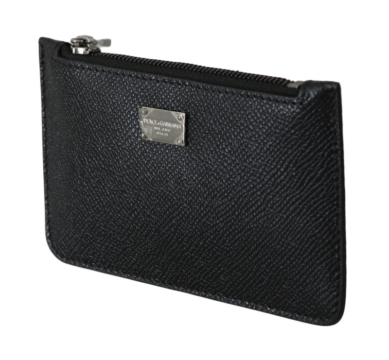 Dolce and Gabbana  Black 100% Leather Mens Coin Purse Logo Chain Wallet