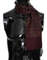 Maroon Crown Logo Silk Mens Wrap Scarf