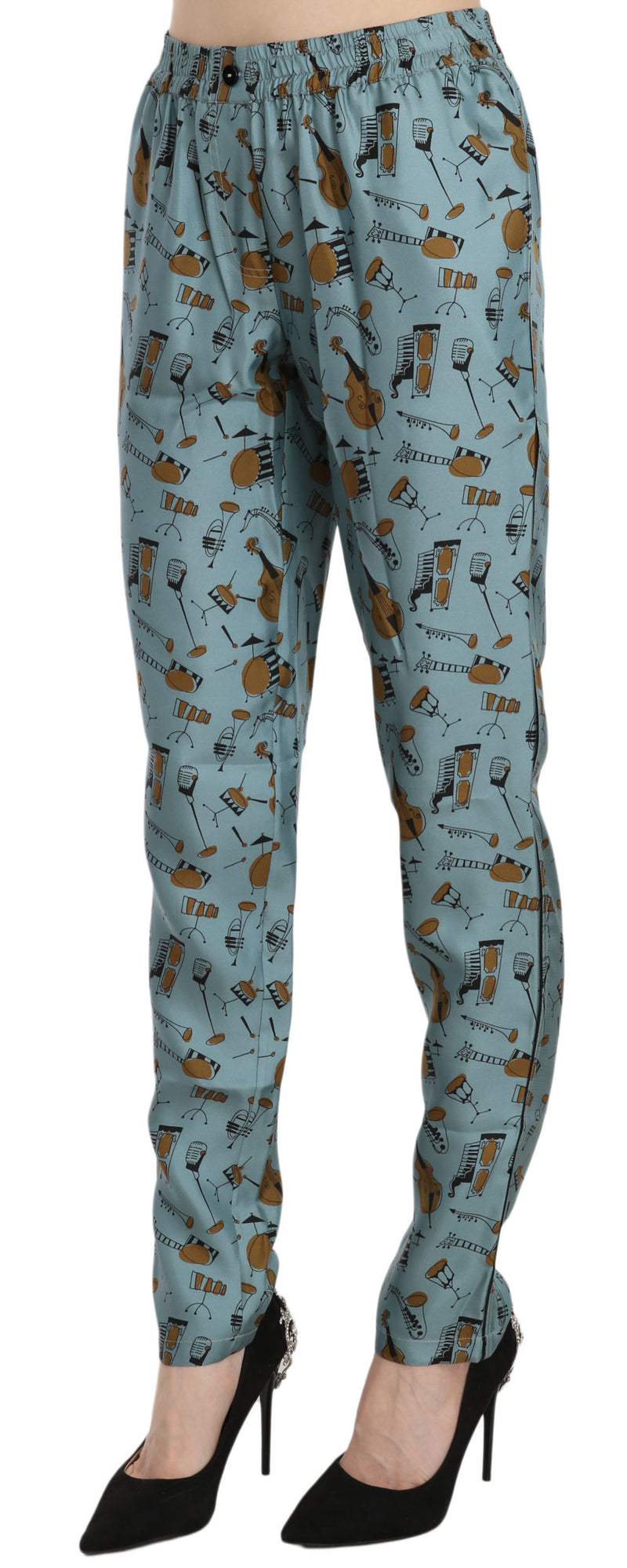 Blue Musical Instruments Print Tapered Pants